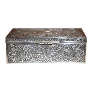 19th Century French Wooden Repousse Silver Plated Jewelry Box