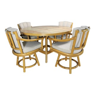 Mid-Century Ficks Reed Co. Round Rattan Game Table & Chairs