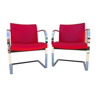 Red Vinyl Chromed Chairs - Pair