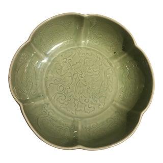 Large Chinese Celadon Glazed Mallow Bowl, 20th century