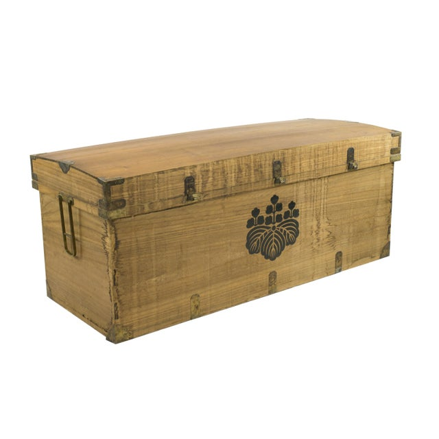 Monumental Early 20th Century Japanese Wood Trunk - Image 2 of 3