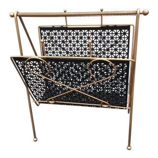 Mid-Century Atomic Black and Gold Magazine Rack