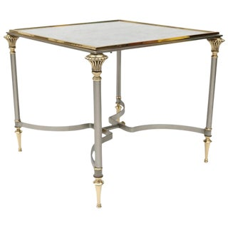 Maison Jansen Style Side Table in Brass, Satin Steel and Antiqued Mirror