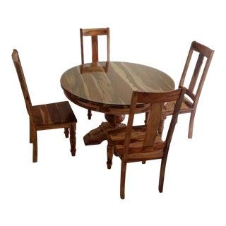 Rustic Rosewood Dining Set - Set of 5