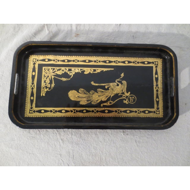Antique English Black Lacquer Tray - Image 2 of 7