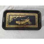 Image of Antique English Black Lacquer Tray