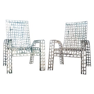 Folk Art Pressed & Welded Steel Chairs - A Pair