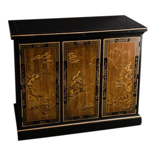 Drexel Heritage Chinoiserie Black Lacquer Oriental Buffet Server Bar