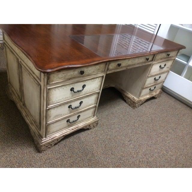 Rustic Americana Hardwood Executive Desk Home Office: Hooker Rustic Wooden Executive Desk