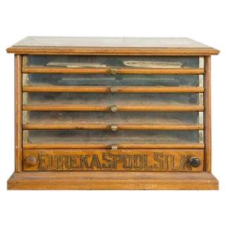 Antique Victorian Eureka Silk Spool Cabinet
