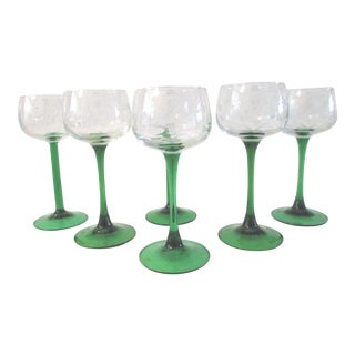 Emerald Green Crystal Wine Glasses - Set of 6
