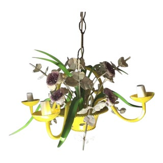 Vintage 4 Arm Flower Pot Toleware Chandelier