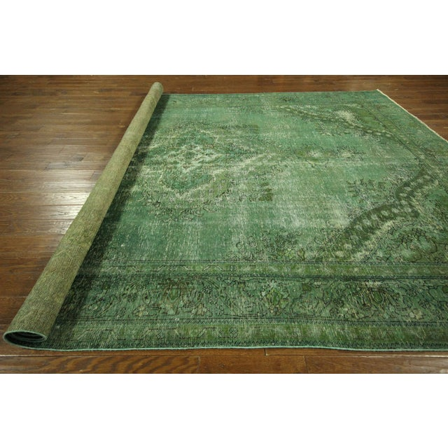 Overdyed Floral Hand Knotted Wool Rug - 9' x 12' - Image 10 of 10