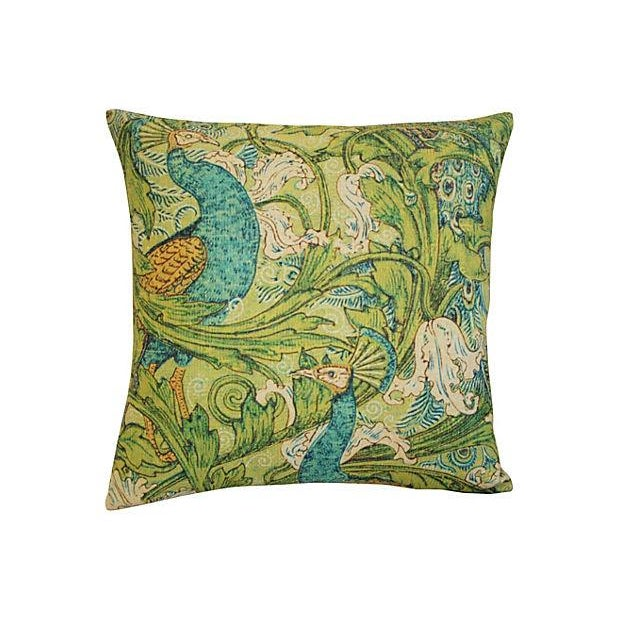 Lush Floral & Peacock Linen Pillows- A Pair - Image 4 of 8