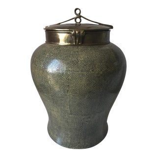 Lillian August Chinoiserie Faux Shagreen Ceramic Jar