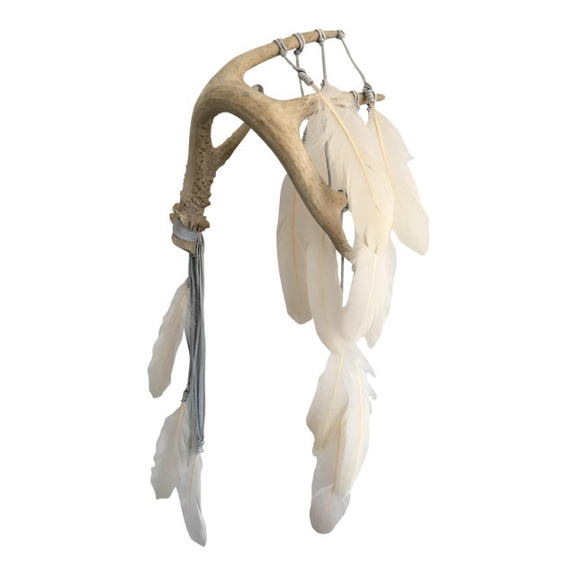Selenite & Cream Feathers Antler Wall Hanging - Image 1 of 3