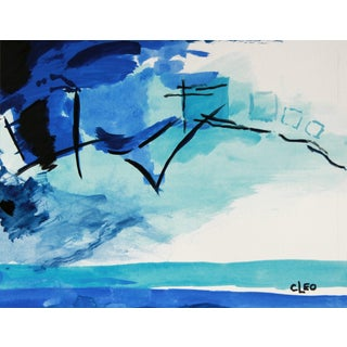 """Jazzy Blues"" Abstract Painting by Cleo"
