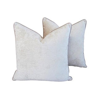 Designer Ivory Velvet Crocodile Pillows - Pair