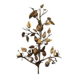 1960s Italian Gilt Iron Lemon Tree Sconce