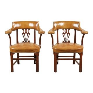 Pair of Mid-20th Century American Mahogany and Leather Armchairs