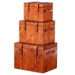Image of Leather Nesting Trunk Boxes - Set of 3