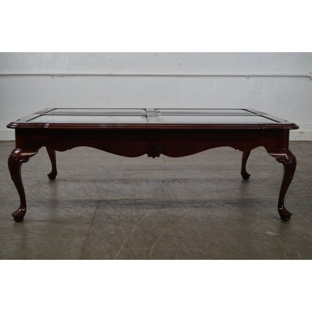 Ethan Allen Tuscan Coffee Table: Ethan Allen Georgian Court Cherry Queen Anne Glass Top