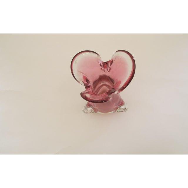 Murano Glass Petal Vase Dusty Rose 1960s - Image 3 of 5