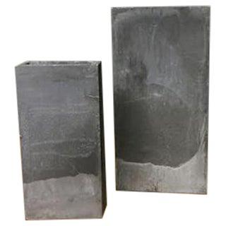 Distressed Rectangular Metal Vases - A Pair