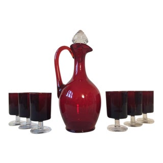 Mid-Century Decanter & Wine Glasses - Set of 7