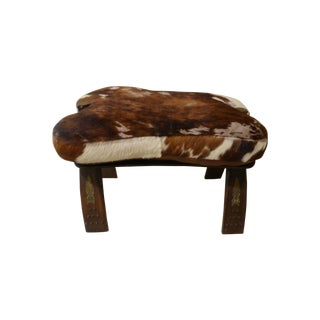 Antique Camel Saddle Stool With Cowhide Cover