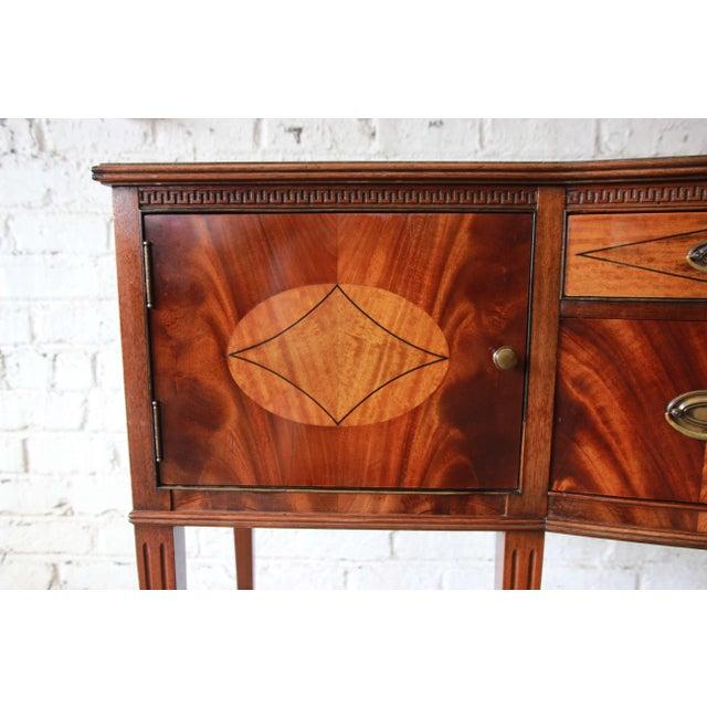 Limbert Hepplewhite Style Inlaid Flame Mahogany Sideboard Buffet, Circa 1930s - Image 9 of 11