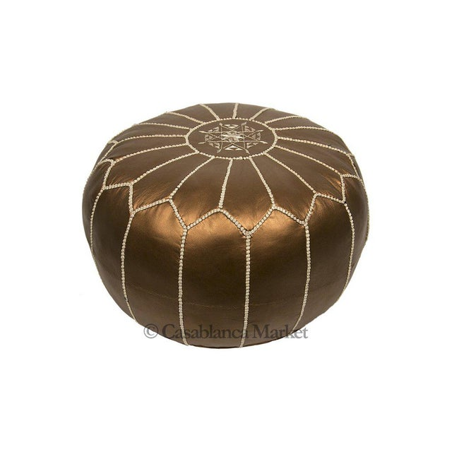 Embroidered Faux Metallic Leather Pouf, Bronze - Image 3 of 5