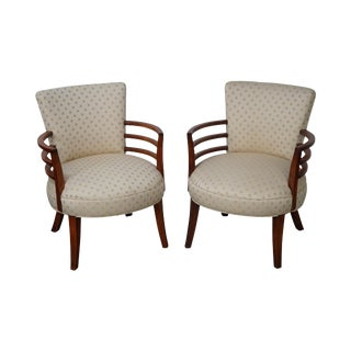 Mid-Century Modern Rounded Robsjohn Gibbings Style Arm Chairs - A Pair