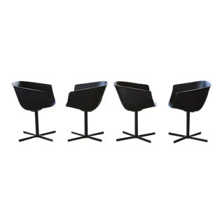 """Set of 16 Black """"Strip"""" Dining Chairs by Carlo Colombo for Poliform"""