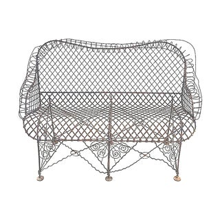 Antique French Wire Bench