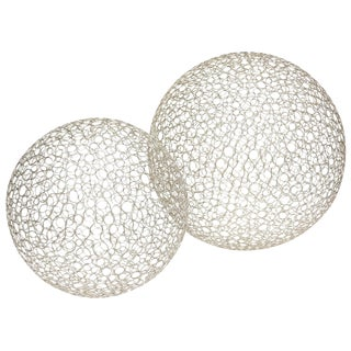 Pair of Sculptural Interweaved Balls