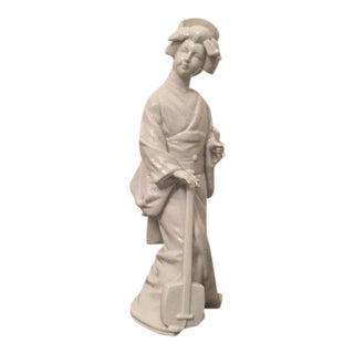 Blanc De Chine Porcelain Geisha Statue