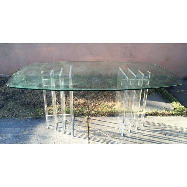 Lucite Sculptural Base Dining Table - Image 2 of 6