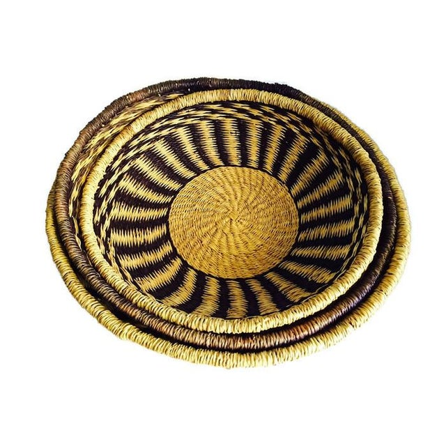Image of Large Tribal Straw Weave Baskets - Set of 3