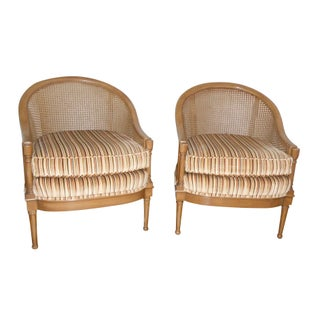 Mid-Century Cane Back Barrel Chairs - A Pair