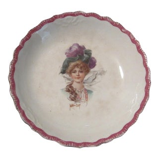 Signed 1907 Victorian Woman's Portraiture Bowl