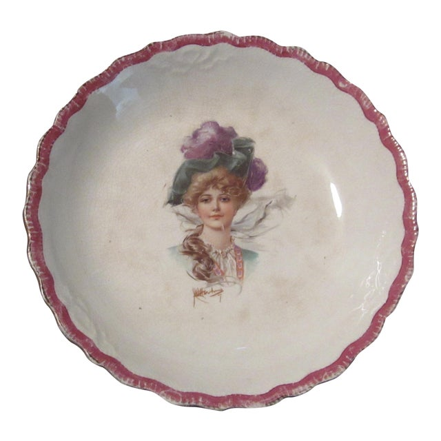 Signed 1907 Victorian Woman's Portraiture Bowl - Image 1 of 10