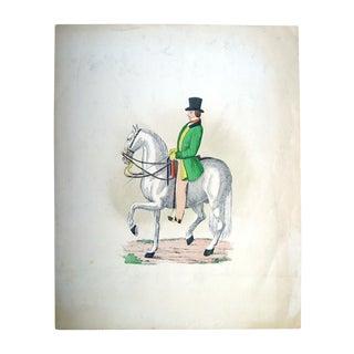 Mid-Century Equestrian Portrait Lithograph