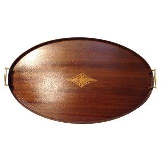 Inlaid Mahogany Oval Tray