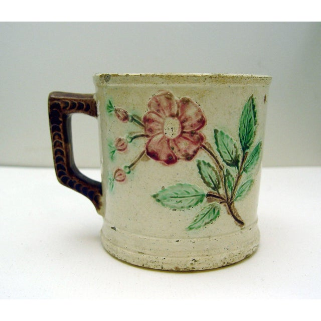 Image of Antique Majolica Mug With Roses