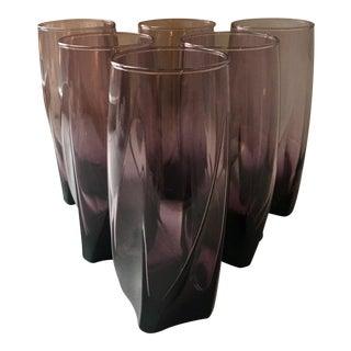 Art Deco Purple Sculptural Glasses - Set of 6