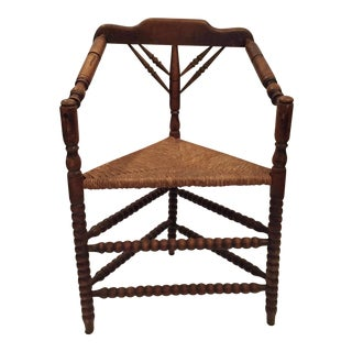 Antique Turned Wood & Triangular Rush Seat Chair