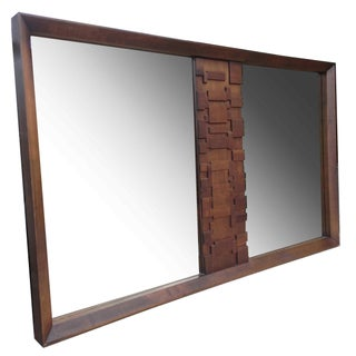 Brutalist Large Walnut Mirror