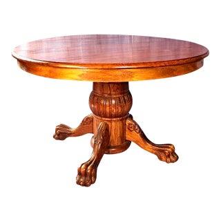 Victorian Oak Pedestal Extending Dining Table