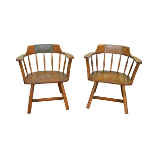 Jamestown Lounge Pair of Vintage Oak Rustic Barrel Back Arm Chairs